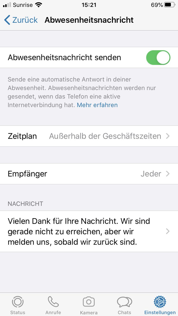WhatsApp Business Abwesenheitsnachricht