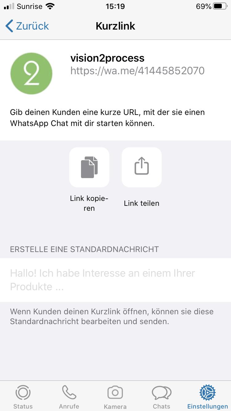 WhatsApp Business Kurzlink