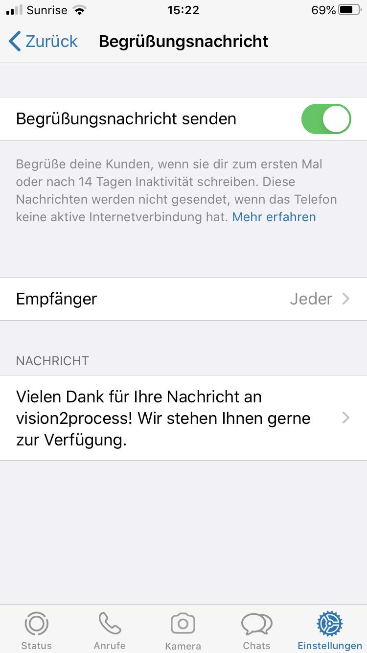 WhatsApp Business Begrüssungsnachricht