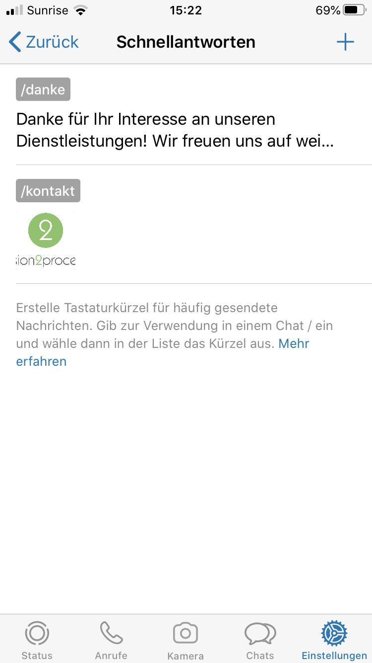WhatsApp Business Schnellantworten