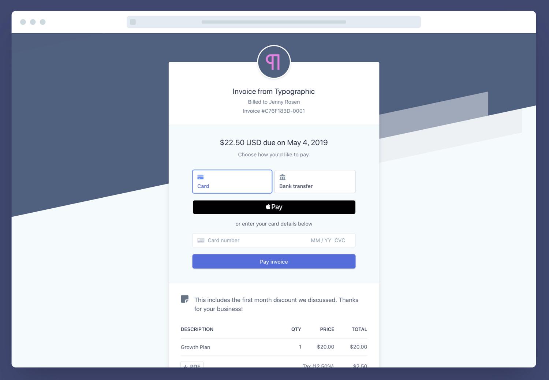 Payment Bezahl Funktionen Stripe Rechnung vision2process